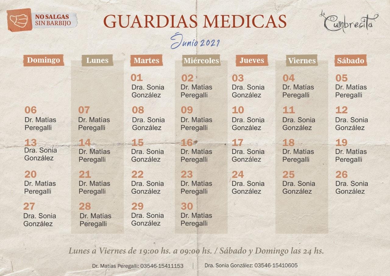 Guardias médicas mes de junio.